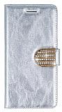 PinShang Casper Via V8 Taşlı Standlı Cüzdan Rugan Silver Kılıf