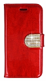 PinShang General Mobile Discovery Taşlı Standlı Cüzdan Rugan Kırmızı Kılıf