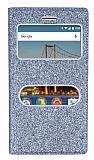 Pinshang General Mobile GM 5 Plus Pencereli Simli Silver Kılıf