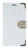 PinShang General Mobile GM 5 Plus Taşlı Cüzdanlı Beyaz Deri Kılıf