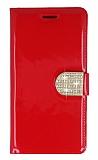 PinShang General Mobile GM 5 Plus Taşlı Standlı Cüzdan Rugan Kırmızı Kılıf
