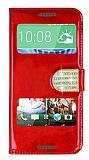 PinShang HTC Desire 620 Pencereli Taşlı Standlı Rugan Kırmızı Kılıf