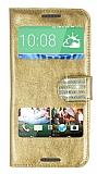 PinShang HTC Desire 820 Pencereli Ta�l� Standl� Rugan Gold K�l�f