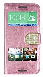 PinShang HTC Desire 820 Pencereli Taşlı Standlı Rugan Pembe Kılıf