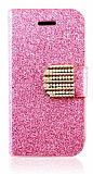 PinShang iPhone 4 / 4S Taşlı Standlı Pembe Cüzdan Kılıf