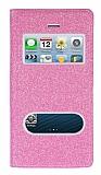Pinshang iPhone SE / 5 / 5S Pencereli Simli Pembe Kılıf