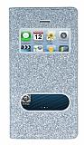 Pinshang iPhone SE / 5 / 5S Pencereli Simli Silver Kılıf