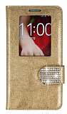 PinShang LG G2 Pencereli Taşlı Standlı Rugan Gold Kılıf