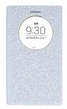 Pinshang LG G4 Beat Pencereli Simli Beyaz Kılıf