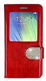 PinShang Samsung Galaxy A7 Pencereli Taşlı Standlı Rugan Kırmızı Kılıf