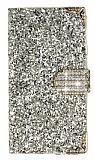 PinShang Samsung Galaxy A7 Taşlı Kapaklı Cüzdan Gold Kılıf