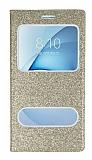 Pinshang Samsung Galaxy A8 2016 Pencereli Simli Gold Kılıf