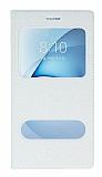 Pinshang Samsung Galaxy A8 2016 Pencereli Simli Beyaz Kılıf