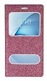 Pinshang Samsung Galaxy A8 2016 Pencereli Simli Pembe Kılıf