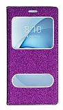 Pinshang Samsung Galaxy A8 2016 Pencereli Simli Mor Kılıf