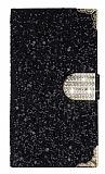 PinShang Samsung Galaxy Alpha Taşlı Kapaklı Cüzdan Siyah Kılıf