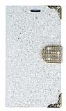 PinShang Samsung Galaxy C5 Taşlı Kapaklı Cüzdan Beyaz Kılıf