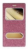 Pinshang Samsung Galaxy C7 SM-C7000 Pencereli Simli Pembe Kılıf