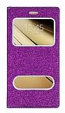 Pinshang Samsung Galaxy C7 Pencereli Simli Mor Kılıf