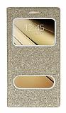 Pinshang Samsung Galaxy C7 SM-C7000 Pencereli Simli Gold Kılıf