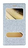 Pinshang Samsung Galaxy C7 SM-C7000 Pencereli Simli Silver Kılıf