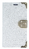 PinShang Samsung Galaxy C7 Taşlı Kapaklı Cüzdan Beyaz Kılıf
