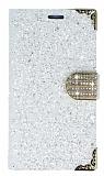 PinShang Samsung Galaxy C9 Pro Taşlı Kapaklı Cüzdan Beyaz Kılıf