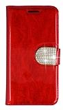 PinShang Samsung Galaxy E7 Taşlı Standlı Cüzdan Rugan Kırmızı Kılıf