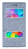 Pinshang Samsung Galaxy Grand Prime / Prime Plus Pencereli Simli Dark Silver Kılıf