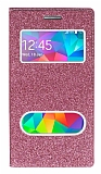 Pinshang Samsung Galaxy Grand Prime / Prime Plus Pencereli Simli Pembe Kılıf