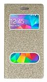 Pinshang Samsung Galaxy Grand Prime / Prime Plus Pencereli Simli Gold Kılıf