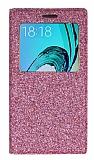 Pinshang Samsung Galaxy J3 Pencereli Simli Pembe Kılıf