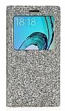 Pinshang Samsung Galaxy J3 Pencereli Simli Gold Kılıf