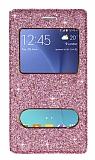 Pinshang Samsung Galaxy J5 Pencereli Simli Pembe Kılıf