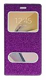 Pinshang Samsung Galaxy J7 Prime / J7 Prime 2 Pencereli Simli Mor Kılıf