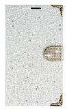 PinShang Samsung Galaxy Mega 6.3 Ta�l� Kapakl� C�zdan Beyaz K�l�f