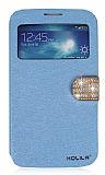PinShang Samsung Galaxy Mega 6.3 Ta�l� Pencereli Standl� Mavi Deri K�l�f