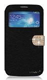 PinShang Samsung Galaxy Mega 6.3 Ta�l� Pencereli Standl� Siyah Deri K�l�f