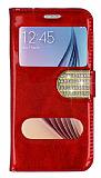 PinShang Samsung i9800 Galaxy S6 Çift Pencereli Taşlı Standlı Rugan Kırmızı Kılıf