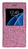 Pinshang Samsung Galaxy S6 Pencereli Simli Pembe Kılıf