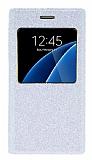 Pinshang Samsung Galaxy S6 Pencereli Simli Beyaz Kılıf