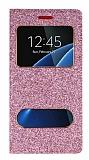 Pinshang Samsung Galaxy S7 Edge Pencereli Simli Pembe Kılıf
