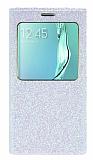 Pinshang Samsung Galaxy S6 Edge Plus Pencereli Simli Beyaz Kılıf