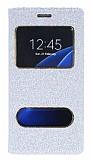 Pinshang Samsung Galaxy S7 Pencereli Simli Beyaz Kılıf