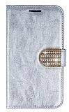 PinShang Samsung i9082 Galaxy Grand / i9060 Grand Neo Ta�l� Standl� C�zdan Rugan Silver K�l�f