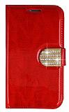 PinShang Samsung i9082 Galaxy Grand / i9060 Grand Neo Ta�l� Standl� C�zdan Rugan K�rm�z� K�l�f