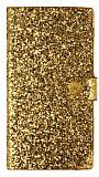 PinShang Samsung Galaxy Mega 6.3 Ta�l� Kapakl� C�zdan Gold K�l�f