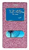 Pinshang Samsung i9300 Galaxy S3 Pencereli Simli Pembe K�l�f