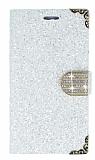 PinShang Samsung J7 2016 Taşlı Cüzdanlı Beyaz Deri Kılıf