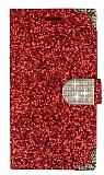 PinShang Samsung J7 2016 Taşlı Cüzdanlı Kırmızı Deri Kılıf